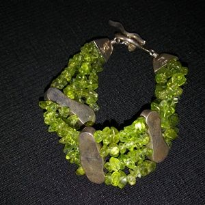 DTR rough cut peridot and silver bracelet